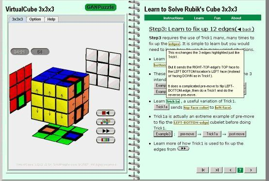 Rubik's Cube 3x3x3 software step animation solution